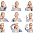 Set of pictures of woman with different gestures and emotions — Stock Photo #48052803