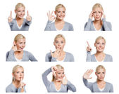 Set of pictures of woman with different gestures and emotions — Stock Photo