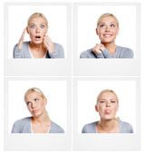 Set of pics of woman showing different emotions — Stock Photo