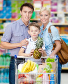 Family drives cart with food — Stock Photo