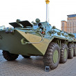 Military cars exhibition on Kreshatik street in Kiev, Ukraine. - Stock Photo
