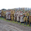 Military reconstruction devoted to free Kiev city from Nazi troops during WWII. — Stock Photo