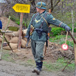 Military reconstruction devoted to free Kiev city from Nazi troops during WWII. - Stock Photo
