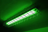 Green neon power lamp, energy details. — Stock Photo