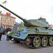 Military exhibition on Kreshatik street in Kiev, Ukraine. — Stock Photo