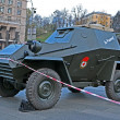 Military cars exhibition on Kreshatik street in Kiev, Ukraine — Stock Photo