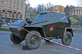 Kiev, ukrayna sokak kreshatik askeri araçların sergi. — Stok fotoğraf