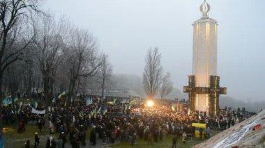 Holodomor (79th anniversary) marks in Kiev, Ukraine on November 24, 2012. — Stock Video