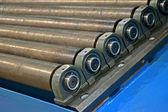 Tas des rouleaux métalliques abstraite, industry détails. — Photo