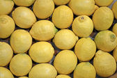 Verse gele citroen heap in container, voedsel. — Stockfoto