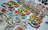 New Year Holiday gift heap on Christmas Charity Bazaar in Kiev, Ukraine. — Stock Photo