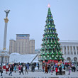 Stock Photo: Christmas Tree and Independence monument in Kiev, Ukraine.