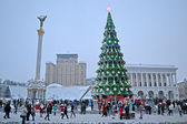 Christmas Tree and Independence monument in Kiev, Ukraine. — Stok fotoğraf
