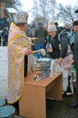 KIEV - JAN 19: Epiphany (Kreshchenya) morning in Kiev. — Stock Photo
