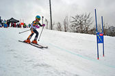 Young ski sportsman in Protasov Yar during ski competition. — Stock Photo