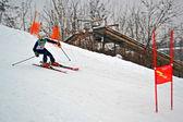 Sportsman on ski in Protasov Yar during ski competition. — Stock Photo