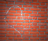 Light over heart sign drawn by white chalk on red brick wall. — Stockfoto