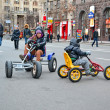 Kids (children) on Kreshatik during Woman sport car show in Kiev, Ukraine. — Stock Photo