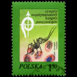 Anopheles Mosquito and blood cells, postal stamp, Poland., — Stock Photo