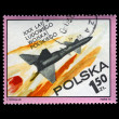 Military missile flight, postal stamp, Poland. — Stock Photo