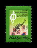 Anopheles Mosquito and blood cells, postal stamp, Poland., — Stok fotoğraf