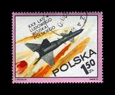 Military missile flight, postal stamp, Poland. — Stock Photo