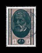 Turgenev Ivan, vintage post stamp isolated on black background. — Stock Photo