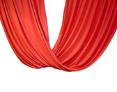 Red curtain isolated on white, theater. — Stock Photo
