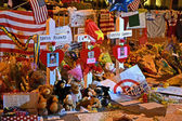 Boylston Street in Boston, Memorial from flowers USA on April 18, 2013. — Stock Photo