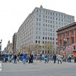 Stock Photo: People near memorial set up on Boylston Street in Boston, USA.