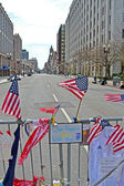 American flags on Memorial set up on Boylston Street in Boston, USA. — Stok fotoğraf