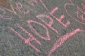 BOSTON - APR 20: Graffiti on memorial set up on Boylston Street. — Stock Photo
