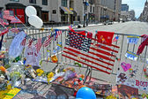 Boylston Street, Flowers on memorial set up in Boston, USA. — Stok fotoğraf