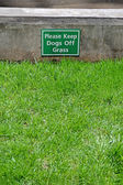 Keep dogs off the grass, warning message. — Stock Photo