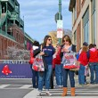 Red Sox fans near Fenway Park on April 20, 2013 in Boston, USA. — Stock Photo