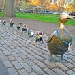 "Sculpture of ducks tribute to Robert McCloskeys story ""Make way for ducklings"" in Boston Public Garden. — Stock Photo"