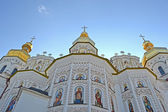 Kiev Pechersk Lavra dome on blue sky, Kyivan Rus Christianity. — Stock Photo