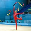 ������, ������: Gymnast in red clothing with ribbon Rhythmic Gymnastics World Championships Kiev