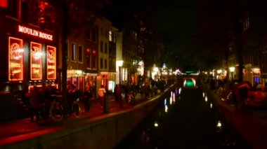 Red Light District (AKA De Wallen, Walletjes or Rosse Buurt) in Amsterdam, Netherlands. — Stock Video