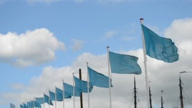 Blue flag heap on blue sky with white clouds, windy, — Stock Video