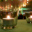 Few candle as fire lamps on the table, — Stock Video