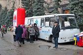 Pneumonia test scanning with mobile x-rays radiography car in Kiev, Ukraine. — Stock Photo