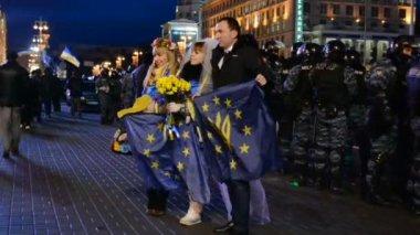 Euro maidan meeting in Kiev, Ukraine. — Stock Video