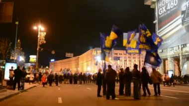 Euro maidan meeting in Kiev, Ukraine. — Stock Video