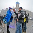 People communicate on Euro maidan meeting in Kiev, Ukraine. — Stock Photo