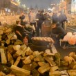 People and barricade during Euro maidmeeting in Kiev, Ukraine. — Stock Video #37228893