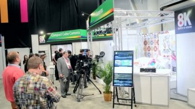 NHK presents Hi-Vision 8K video system during NAB Show 2014 in Las Vegas, USA. — Stock Video