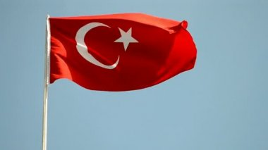 Turkey, turkish flag on blue sky, country independence. — Stock Video