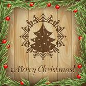 クリスマス モミの木に対して木の枝 — ストックベクタ