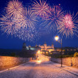 Fireworks over the castle - Stock Photo